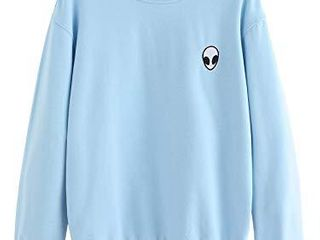 SweatyRocks Womens Casual long Sleeve Pullover Sweatshirt Alien Patch Shirt Tops  Small  Blue