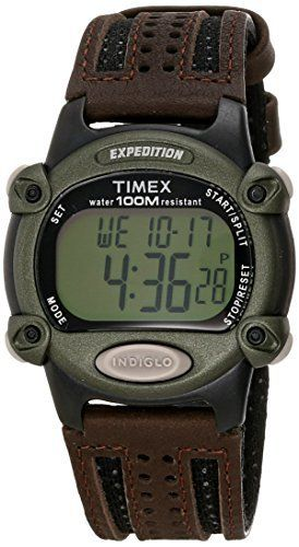 Timex Men s T48042 Expedition Full Size Digital CAT Brown Nylon leather Strap Watch