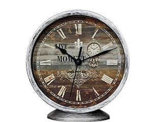 Classic Silent Desk Clock 6 Inch Non Ticking Decor Silver Wall Clocks Easy to Ready for Kitchen Bathroom Office