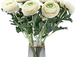 Artificial Ranunculus Flowers with Real Touch Stem  Silk Ranunculus Flowers 10 Pack   White
