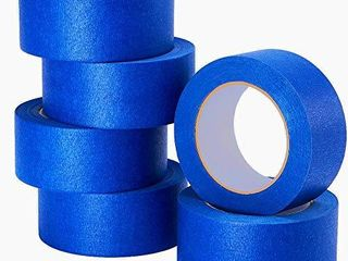 lICHAMP 6 Piece Blue Painters Tape 2 inches Wide  Blue Masking Tape Painter s Bulk Multi Pack  1 95 inch x 55 Yards x 6 Rolls  330 Total Yards