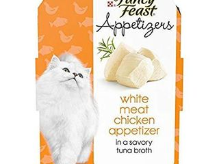 Purina Fancy Feast Broth Wet Cat Food Complement  Appetizers White Meat Chicken   1 1 oz  Tray  10 count