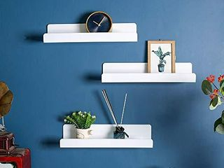 6 PCS Wall Mounted Acrylic Floating Shelf 15 Inch White ledge Shelf  Nursery Kids Bookshelf 5MM Thick Bathroom Storage Shelves Toy Display Organizer