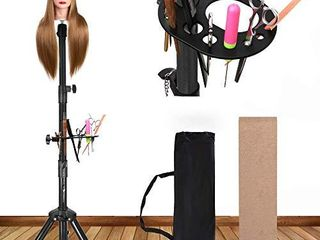 Alileader Sturdy Wig Stand Wig Head Stand Manequin Head Stand Adjustable Heavy Duty Wig Stand Tripod for Cosmetology Hairdressing Training  Black Tripod With Tray 55 In Mannequin Head Not Included