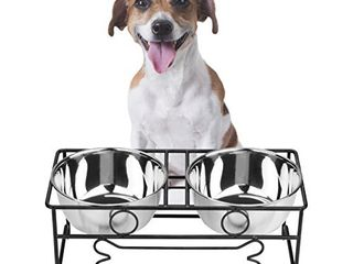VIVIKO Bone Style Pet Feeder for Dog Cat  Stainless Steel Food and Water Bowls with Iron Stand  Medium