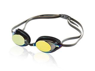 Speedo Unisex Adult Swim Goggles Mirrored Vanquisher 2 0 Deep Gold One Size