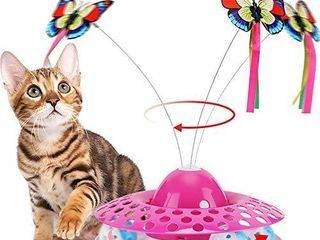 Interactive Cat Toys   Automatic Electric Rotating Butterfly   Ball Exercise Kitten Toy Funny Cat Teaser Toys for Indoor Cats 2 Butterfly Replacements  Grey