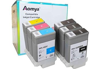 Aomya Compatible Ink Cartridge Replacement for Canon PFI 102 ImagePrograf iPF500 510 600 605 610 650 655 700 710 720 750 755 760 765 130Ml Ink Cartridge 2MBK  BK  C  M  Y  6 PackAA