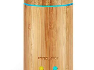 InnoGear Upgraded Real Bamboo Essential Oil Diffuser Ultrasonic Aroma Aromatherapy Diffusers Cool Mist Humidifier with Intermittent Continuous Mist 2 Working Modes Waterless Auto Off  Medium  light