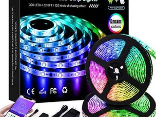 KORJO Dream Color lED Strip lights  32 8ft 10M Bluetooth lED Chasing light with APP  12V 300 lEDs 5050 RGB Color Changing Rope light Kit  Flexible led Strip lighting for Home Kitchen