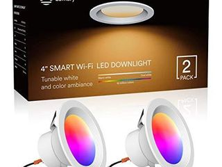Smart lED Recessed lighting 4 Inch  lumary Wi Fi lED Can lights Dimmable 16 Million Colors lED Downlight Compatible with Alexa   Google Assistant 9W 2700K 6000K  2 Pack