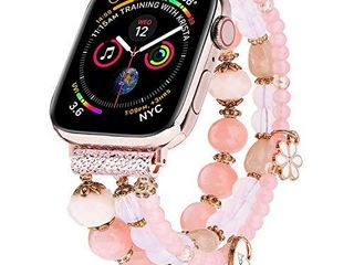 V MORO Bracelet Compatible with 40mm Series 6 5 Apple Watch Band 38mm Women Fashion Handmade Elastic Stretch Beads Replacement for iWatch Series 4 3 2 1 38mm 40mm with Rose Gold Stainless Steel Adapter
