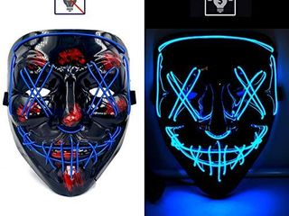 Halloween Mask lED light Up Mask Costume Mask for Halloween Festival Cosplay Party Costume Scary El Wire