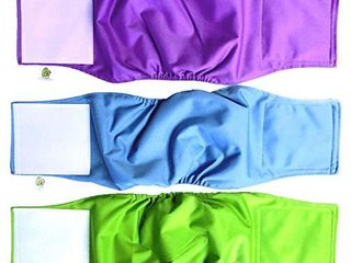 Pet Magasin Male Dog Belly Manner Band Wraps Nappies  3 Pack  Blue Green and Purple  large