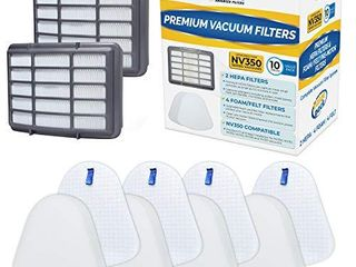 VEVA Complete Premium Vacuum Filter Set Including 2 HEPA  4 Foam  4 Felt Filters 10 Pieces Total for Shark Navigator lift Away Model NV350  351  352  355  356  357  358  360  370  391  UV440  490  540