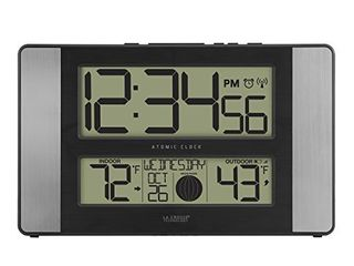 la Crosse Technology 513 1417Al INT Atomic Clock w Outdoor Temp  Grey Black