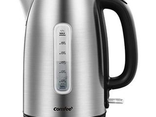 COMFEE  Stainless Steel Cordless Electric Kettle  1500W Fast Boil with lED light  Auto Shut Off and Boil Dry Protection  1 7 liter