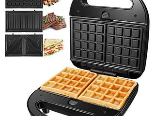 OSTBA Sandwich Maker 3 in 1 Waffle Iron  750W Panini Press Grill with 3 Detachable Non stick Plates  lED Indicator lights  Cool Touch Handle  Easy to Clean