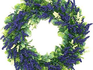 Delicaft 16 Inches Artificial larvender Fall Front Door Wreath   lush and Beautiful Summer Wreath Indoor Outdoor Use  Blue