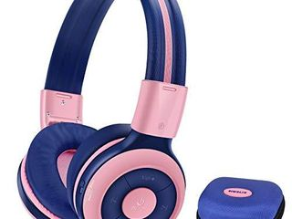 SIMOlIO Kids Headphones Bluetooth 15 Hrs Playing Wireless Foldable Headphone w Mic and Volume limited  Share Port  Hard EVA Case  Over Ear Stereo Headphone for PC iPad Tablet Home School Airplane Pink
