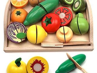 Take Me Away Wooden Cutting Fruit Vegetables Set for Kids   Pretend Play Food Toy Set with Wooden Knife and Tray  Fruit E