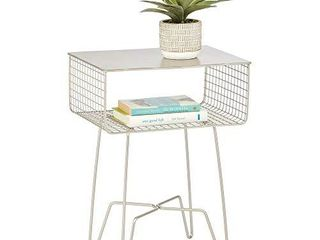 mDesign Modern Farmhouse Side End Table   Solid Metal Design   Open Storage Shelf Basket  Hairpin legs   Sturdy Vintage  Rustic  Industrial Home Decor Accent Furniture for living Room  Bedroom   Satin