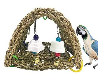kathson Bird Sheltering Seagrass Tent Hammock Small Animal Snuggle Hut Parrot cage Toy for Parakeets Cockatiels lovebirds Ring Necks Pionus Senegals Small to Medium Birds