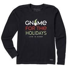 life is Good Women s Gnome For The Holidays long Sleeve Crusher Tee M Jet Black