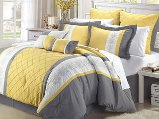 Chic Home 35CQ111 US livingston Embroidered Comforter Set   Yellow   Queen   8 Piece