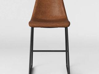 Bowden Upholstered Molded Faux leather Counter Height Barstool Caramel   Project 62