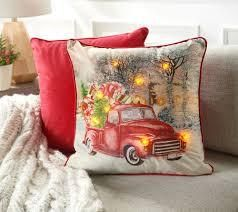 Home Reflections 1 light Up   2 Solid Holiday Pillow Set Truck