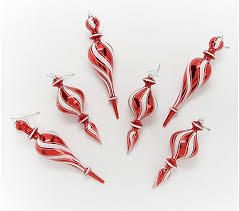 Set of 6 Peppermint Swirl Glass Ornaments by Valerie Red White