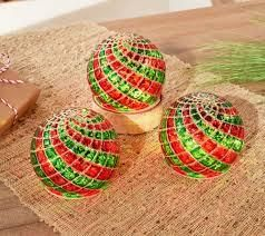Set of 3 Illuminated Quilted Plaid Spheres by Valerie Red Green