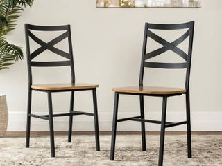 X Back Dining Side Chairs  Set of 2    in Barnwood