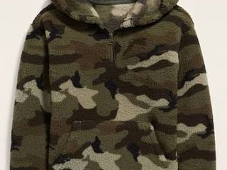 Old Navy Sherpa Green Camo Kids l  10 12  Half Zip with Pockets Jacket Retail   29 99
