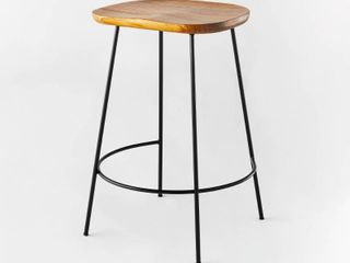 Metal Base Counter Height Stool with Wood Seat Brown   Threshold designed with Studio McGee