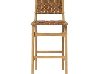 Ceylon Woven and Wood Barstool Brown   Natural Wood   Opalhouse