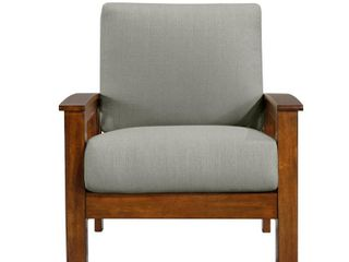 Handy living Omaha Mission Style Arm Chair with Exposed Cherry Wood Frame in Dove Gray linen