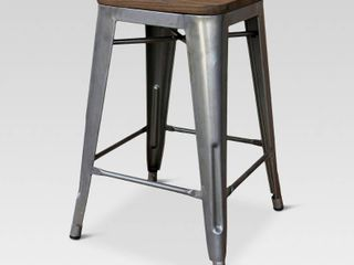 24  Hampden Industrial Wood Top Counter Height Barstool   Threshold