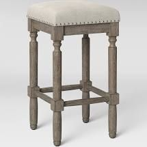 Erving Wood And Upholstered Backless Counter Stool Taupe   Threshold