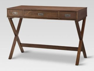 Campaign Wood Writing Desk with Drawers Brown   Threshold