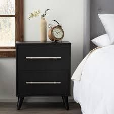 Emery Two Drawer Nightstand Black   Brookside Bed