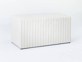 lynwood Cube Bench Wide Striped Cream   Threshold designed with Studio McGee