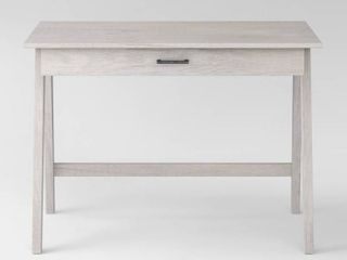Paulo Wood Writing Desk with Drawer White Wash   Project 62