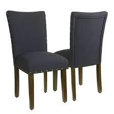HomePop Classic Parsons Chair with Nailhead Trim   Deep Navy  set of 2