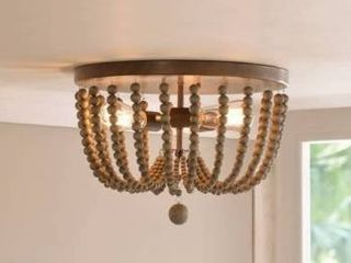 Zander 3 light Flush Mount   Golden Bronze with Gray Wood Beads