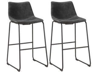 Classic Faux leather Bar Chair Set   Charcoal Gray