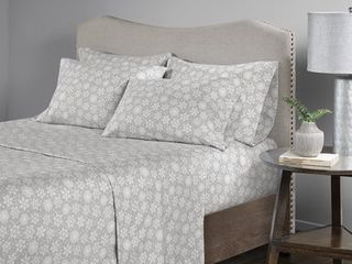 Comfort Spaces Snowflakes 100  Cotton Flannel Printed Sheet Set  Twin  Grey