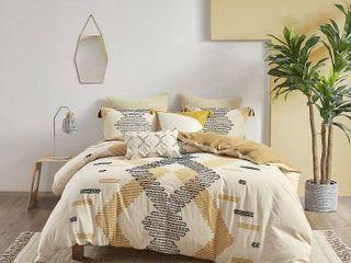King   Cal King  INK and IVY Arizona Yellow Cotton Duvet Cover Set  Retail 122 49