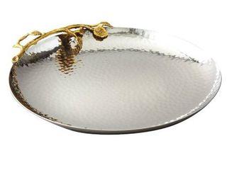 Heim Concept Golden Vine Hammered 10 75 inch Round Tray